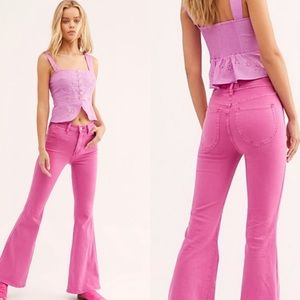 Free People Brooke Flare Jeans Pink Bell Bottoms